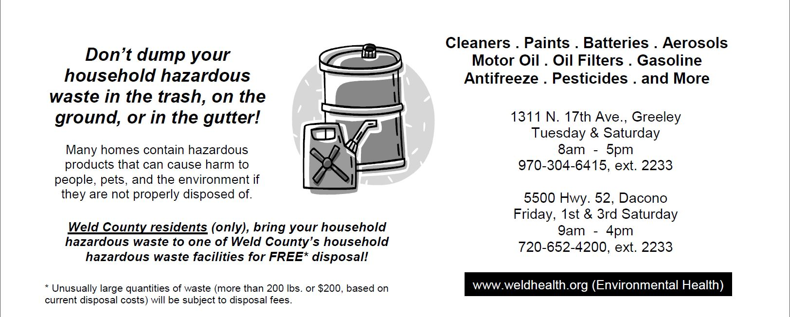 Household Hazardous Waste Disposal Flyer