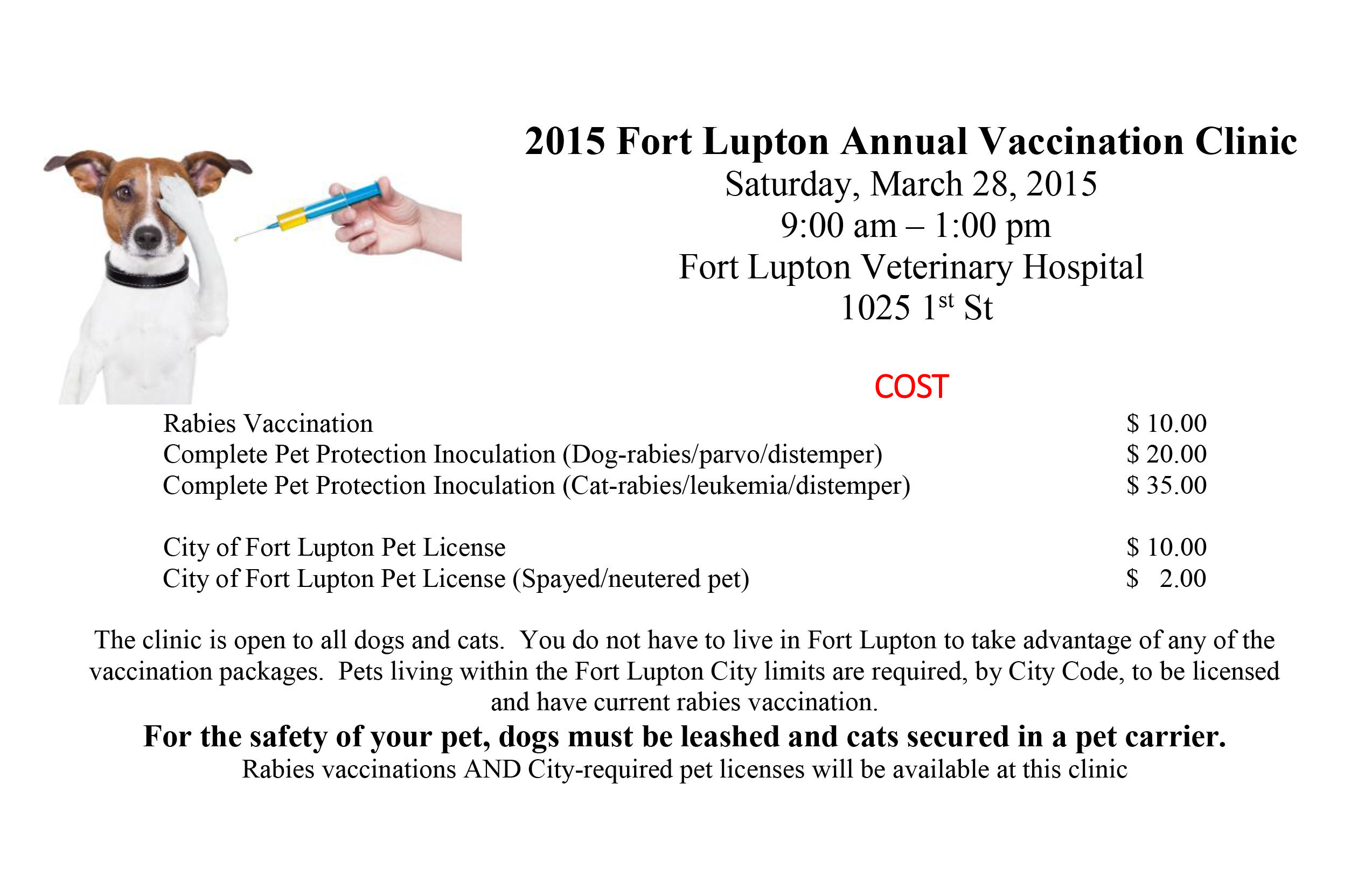 2015 Fort Lupton Annual Vaccination Clinic