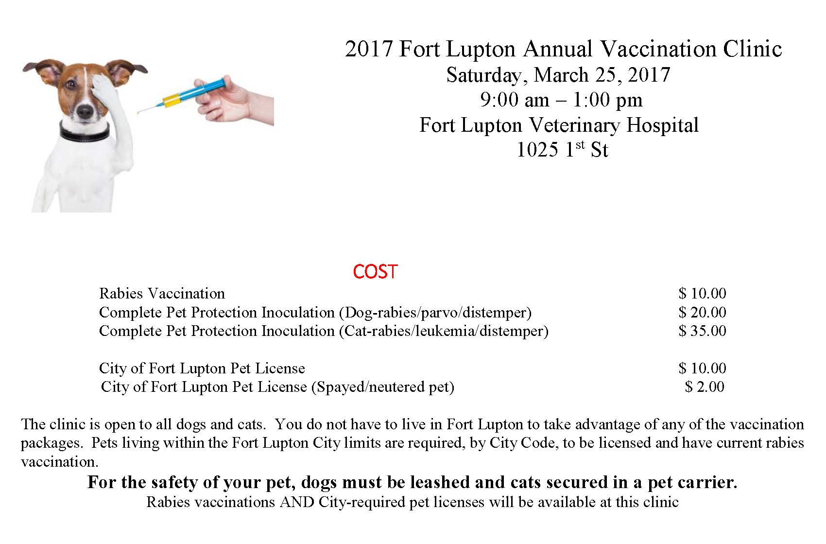 2017 Fort Lupton Annual Vaccination Clinic new one