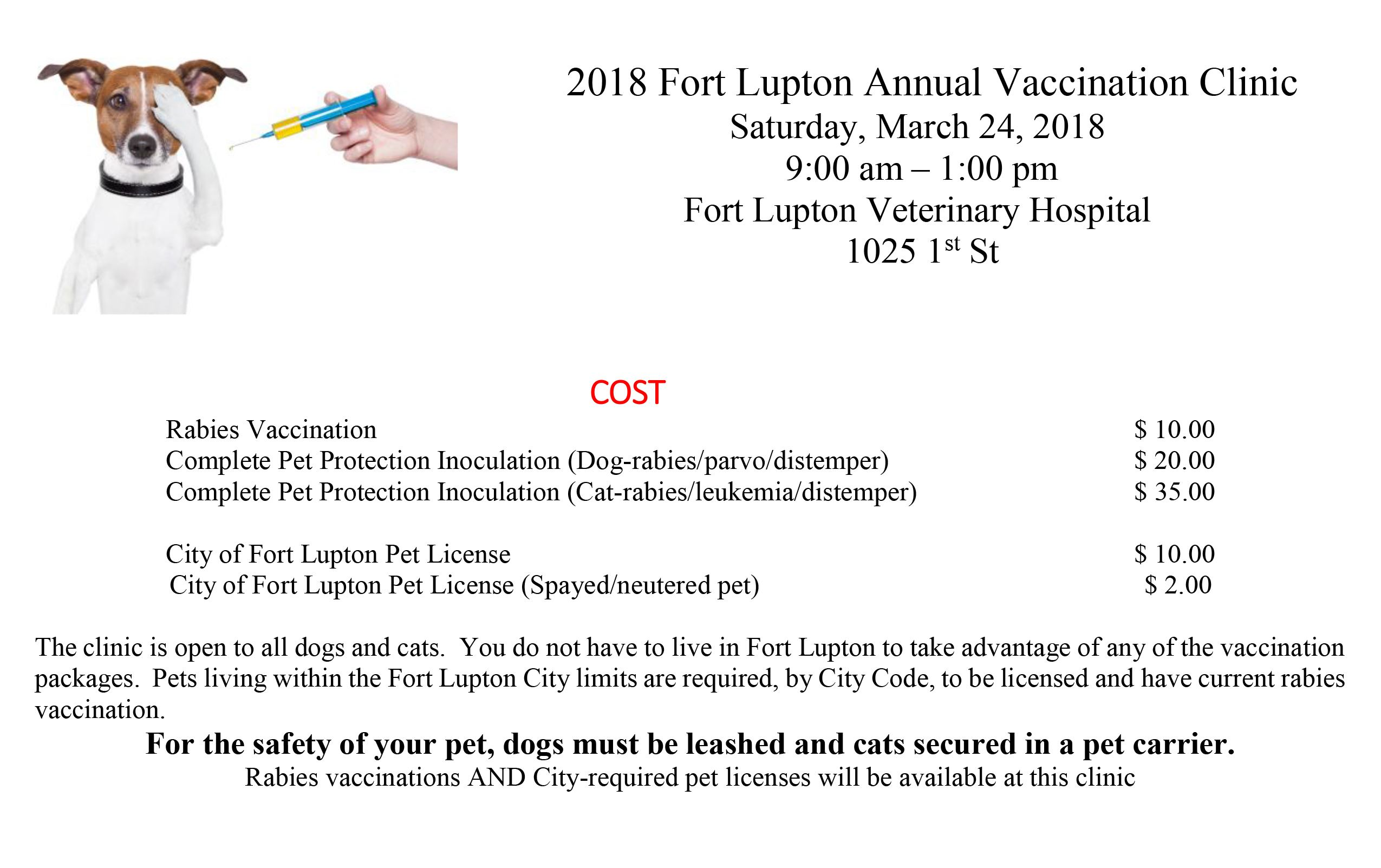 2018 Fort Lupton Annual Vaccination Clinic new one