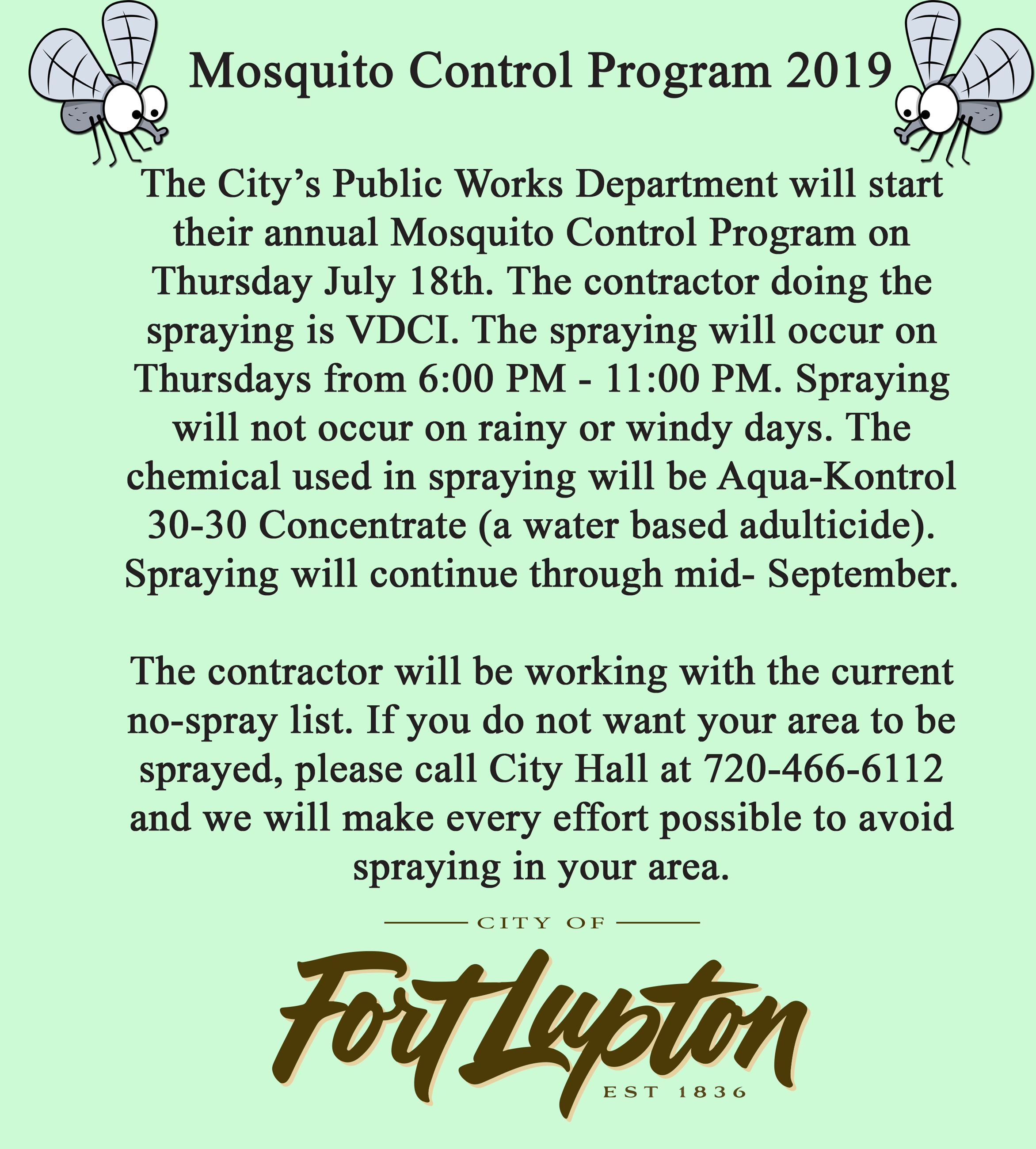 2019 Mosquito Program