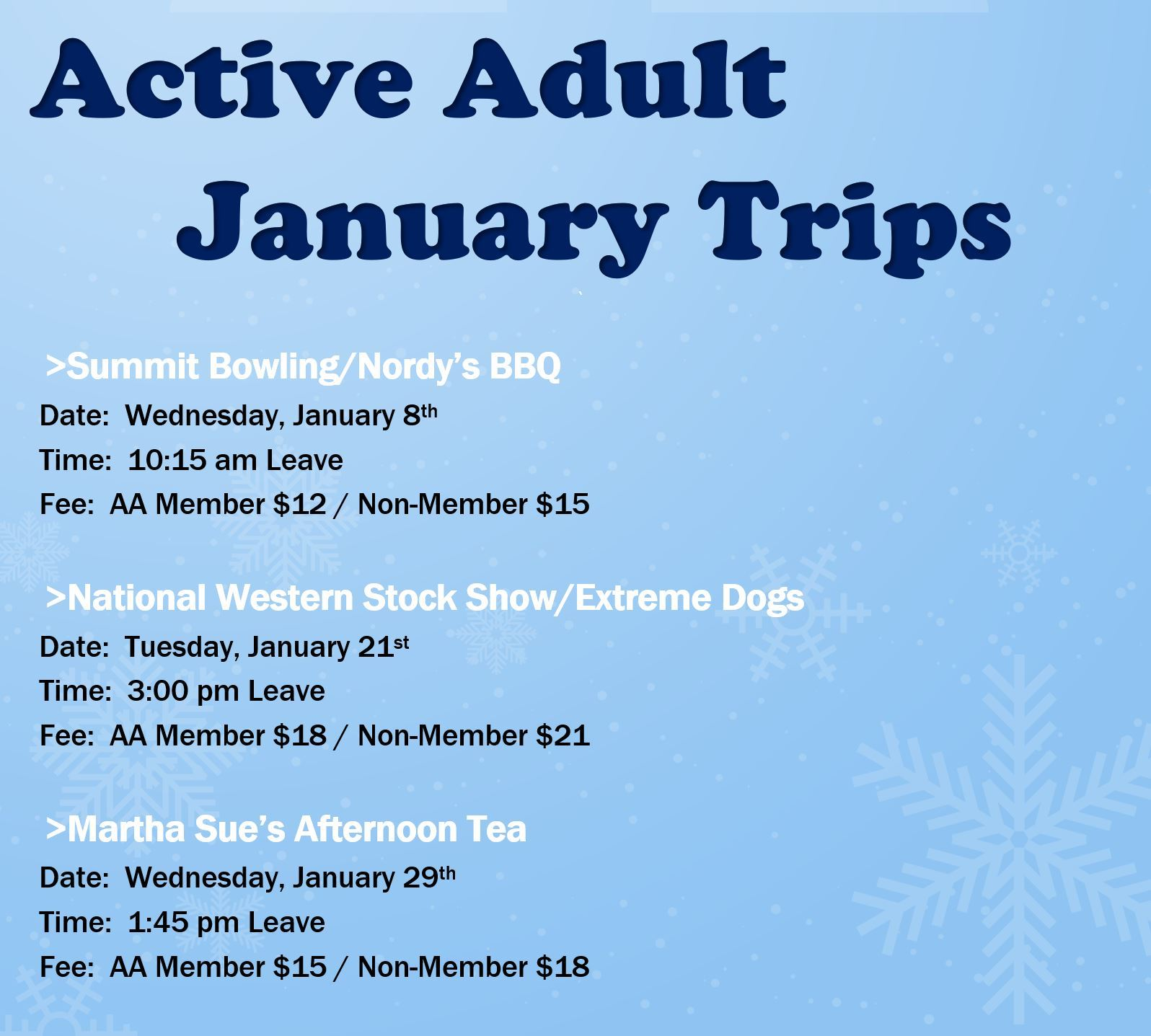 Active Adults Trips Jan.